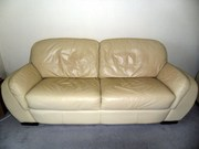 CREAM LEATHER SOFA SUITE FOR SALE IN SALISBURY