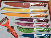 New 7piece Kitchen Knife Set with coloured Handles. Royalty Line RLCO7